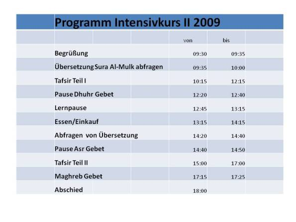 Programm Intensivkurs II 2009 pp